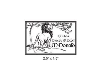 Custom Ex Libris Lion Rubber Stamp M23