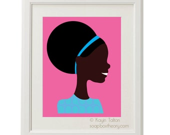 Girl in aqua blue with afro - Customized Children's art & decor