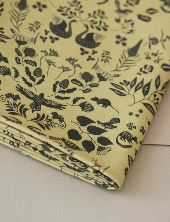Swan River Colony Damask - Small Piece - Black on Gold