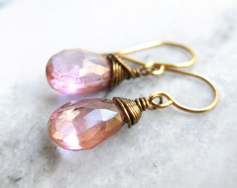 Mystic Topaz Earrings - vintage style pink gemstone drop in antique bronze, gold and silver, wire wrapped wedding jewelry