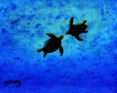 Sea Turtle Outsider ACEO Folk Art PRINT of Todd Young painting