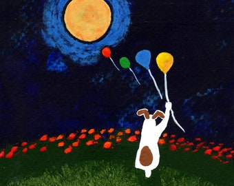 Jack Russell Terrier Dog Art PRINT Todd Young painting Floating Balloons