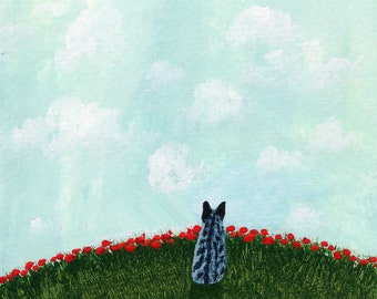 Grey Tabby Manx Cat Folk Art Print by Todd Young Summer Poppies