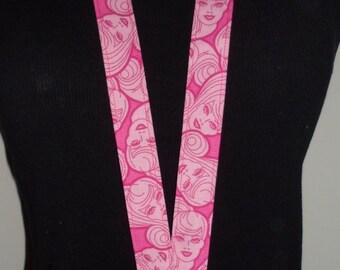 Pink Barbie Keychain Lanyard Badge Holder - Back to school