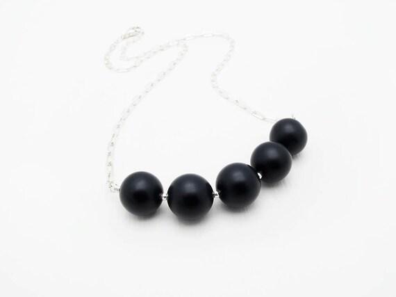 black onyx necklace black gemstone necklace black stone necklace sterling silver necklace mod necklace urban jewelry minimal necklace