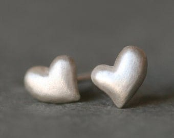 Puffy Heart Stud Earrings in Sterling Silver