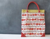 Handmade Book Bag, Red Scandinavian Modern, Folk Print Handbag, Laptop Bag, Cute Linen Tote Bag with Pockets and Clip.