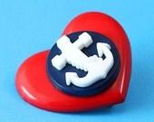 Heart & Anchor Brooch - Red and Navy - Rockabilly