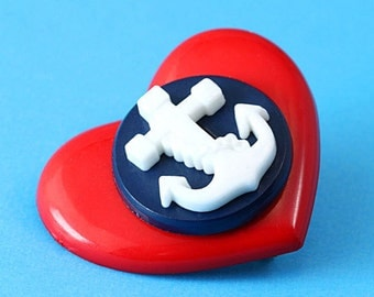 Heart & Anchor Brooch - Red and Navy - Rockabilly