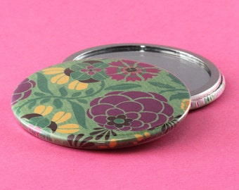 Pocket Mirror Flowers - Green, Purple & Yellow