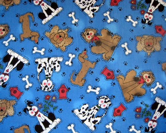 Blue Dogs Fabric Bone Fire Hydrant paw print 3/4 yard of