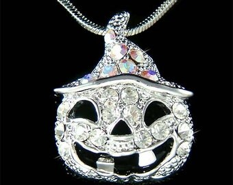 Swarovski Austrian Crystal Halloween Jack o Latern Orange Pumpkin Necklace NEW