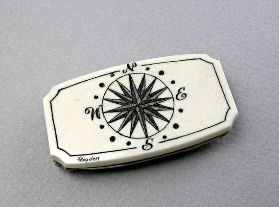RESERVED LISTING for Mark -------------Money Clip Knife with Scrimshaw Compass Rose Motif