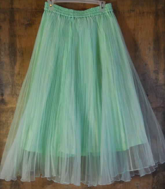Vintage mint skirt  pleats chiffon sheer full boho medium from vintage opulence on Etsy