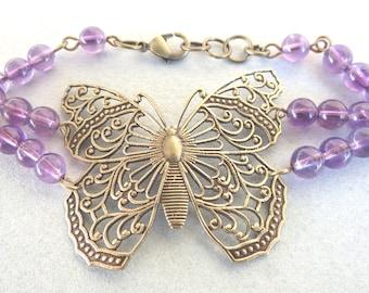 Filigree Butterfly and Amethyst Bracelet