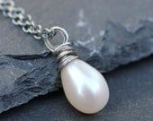 Delicate Wrapped Pearl Necklace in Sterling Silver