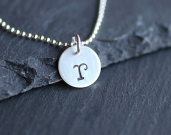 Hanstamped Letter Necklace, Personalized Initial Necklace