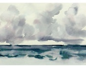 Rain Clouds At Sea Watercolor Original Wall Art