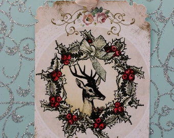 Deer and Wreath Gift Tag