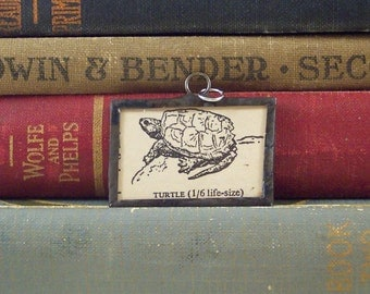 SALE Turtle Pendant - Soldered Glass Charm - T is for Turtle w/ Vintage Dictionary Book Illustration - Mixed Media Charm - Monogram Letter T