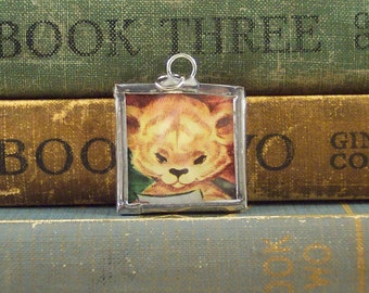 Lion Cub Pendant with Vintage Story Book Illustration - Lion Pendant - Soldered Glass Charm - Lion Charm - African Big Cat
