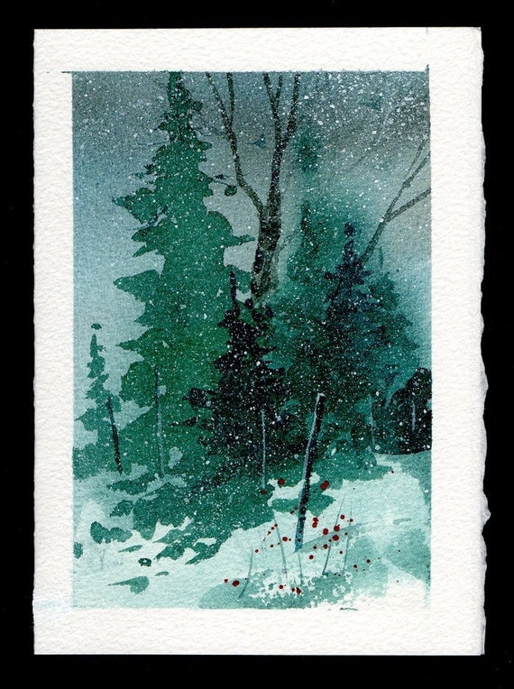 hand painted watercolor christmas card by mjonesart on etsy