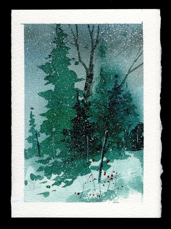 Hand painted watercolor christmas card by mjonesart on etsy for Painted christmas cards