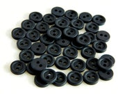 Vintage Buttons-Set of 40 Vintage 1970's Tiny Black Plastic Buttons-VGB2-3/8""