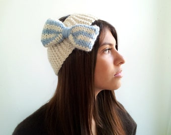 Headband with Bow. Alpaca and Wool. Baby Blue and Cream Stripes. Ear Warmer for Women, Teens, Girls