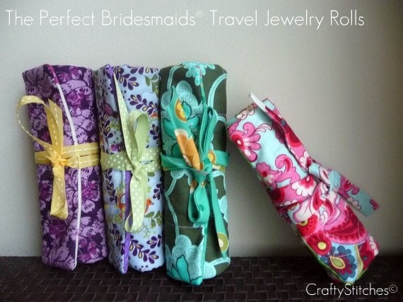 Gift Under 25 - Bridesmaids Gift - Custom Made Jewelry Roll Case or Wallet - Choose your own fabrics