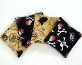 PIRATE - Kids Bean Bag Set of 4 - Party Favor - Stocking Stuffer - HappyBabeeandBeeyond