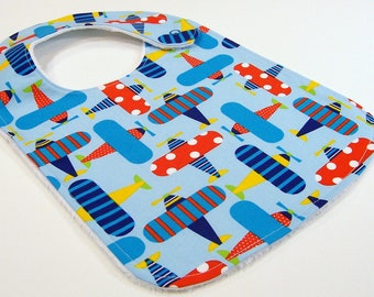 Baby Boy Bib - AIRPLANE FUN - Handmade Minky Bib