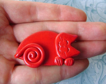 Polymer Clay Christmas Red Cat brooch pin or magnet