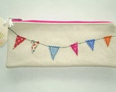 cute little zipper pouch pencil case wallet makeup bag with stitched garland