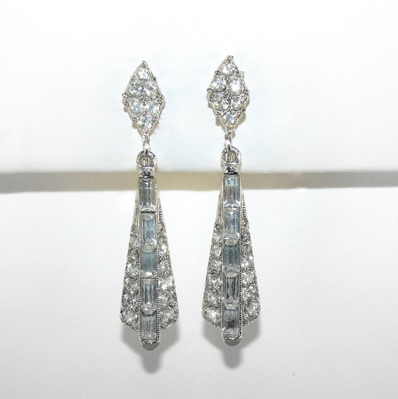 Rhinestone Dangle Earrings Wedding Jewelry 50s Clip Baguettes Formal Special Occasion Accessory