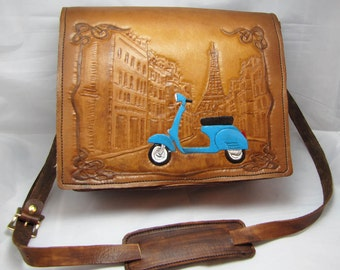 Leather Messenger Bag - Holiday in Paris
