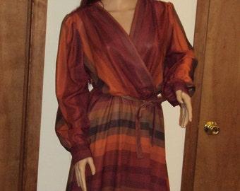 Vintage Sheer Polyester Drape Disco Secretary Low Cut V-Neck Striped Dress 1970s Designer Ajax New York