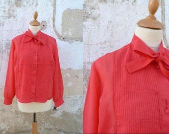 Vintage 1960 red semi sheer secretary blouse 60s ascot blouse necktie size S/M