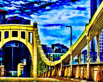 Roberto Clemente Bridge Giclee Print, Pittsburgh PA, Urban Wall Art, Digital Wall Art