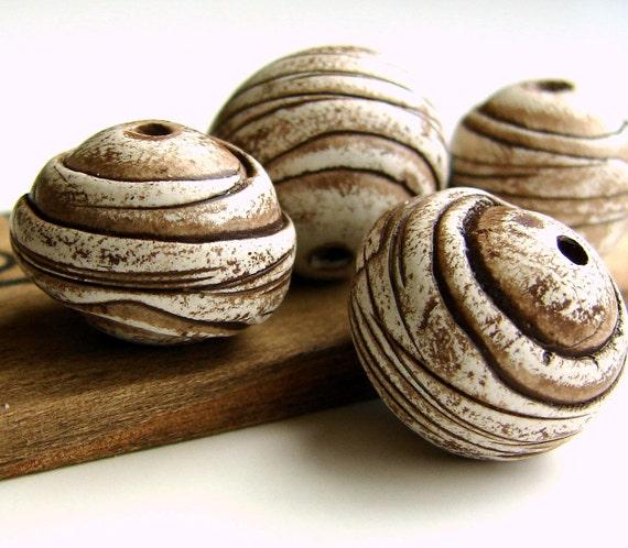 Handmade Polymer Clay Round Beads - Weird Pods