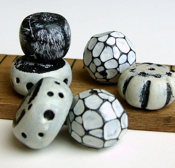 Handmade Polymer Clay Beads - Organic Black and Whites