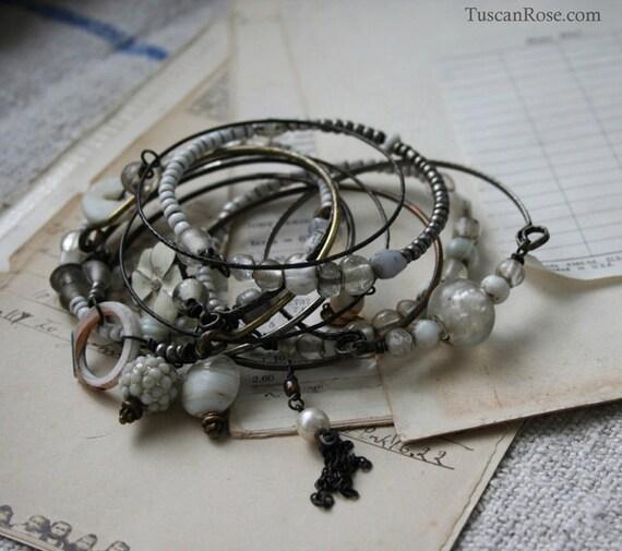ON SALE - Prairie Wedding Bangle Stack- set of 10 Bangles - gypsy white bracelets