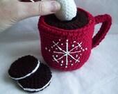 Hot Chocolate Mug with removable hot chocolate and marshmellow..crochet play set