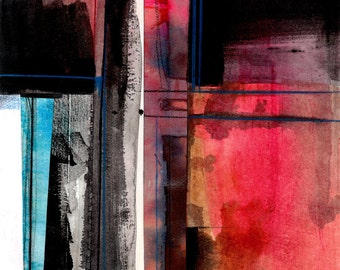 """Abstract Painting, Red, Black, Blue, Original Contemporary, Modern colorful art """"Abstract Stories No.1"""" Kathy Morton Stanion EBSQ"""