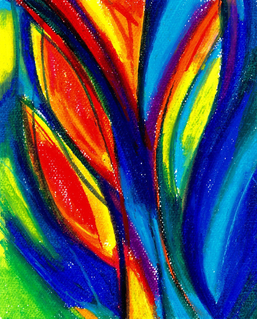 Abstract Painting Colorful Blue Red Art Original