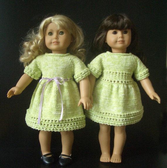American Girl 18 inch doll Knitting pattern DRESS 38