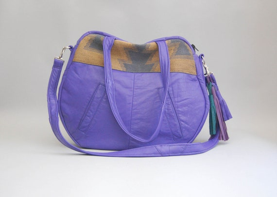 TAZETTA /// purple leather bag with navajo southwestern print