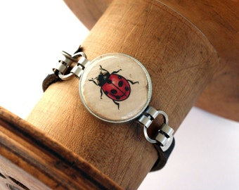 Ladybug Bracelet - Ladybug Jewelry - Wine cork Jewelry - Black, Brown or Tan Leather - Eco Friendly, Custom ALL Sizes by Uncorked