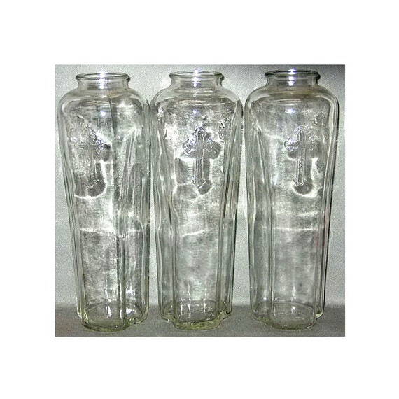 Antique Holy Water Bottles Root Glass Company Early 1900s