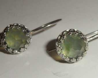 Rosecut Prehnite Metalsmithed Sterling Silver Earrings  - Custom Order